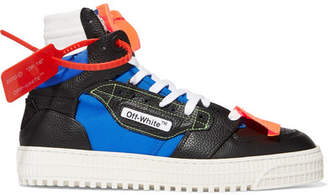 Off-White Off-court Logo-embellished Canvas, Leather And Suede High-top Sneakers - Black