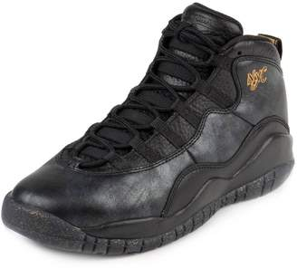 Nike Jordan Kids Air Jordan 10 Retro Bg Black/Black/Drk Grey/Mtllc Gld Basketball Shoe Kids US