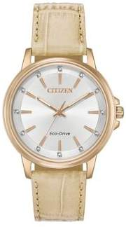 Citizen Chandler Stainless Steel and Leather Strap Watch