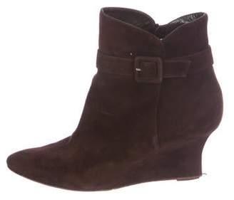 Manolo Blahnik Suede Wedge Boots