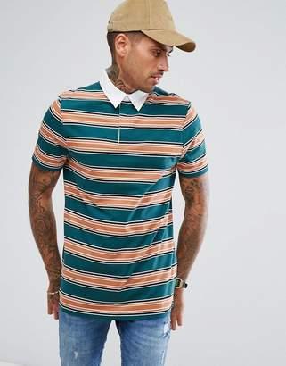 Asos Longline Stripe Rugby Polo Shirt