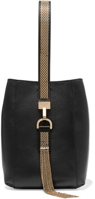 Lanvin - Chain-trimmed Leather Wristlet Bag - Black $1,295 thestylecure.com