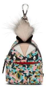 Fendi Mini Monster Leather& Fur Backpack Key Charm