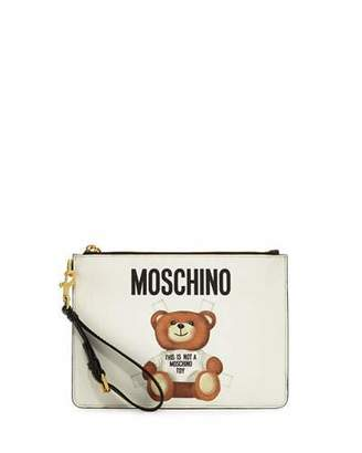 Moschino Teddy Bear Zip-Top Wristlet, White/Multi $275 thestylecure.com