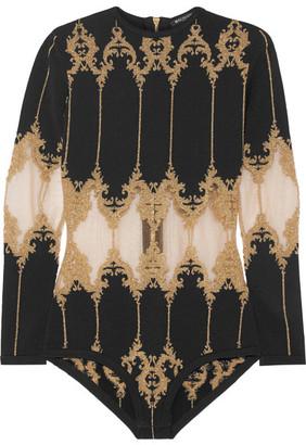 Balmain - Metallic Tulle-paneled Stretch-knit Bodysuit - Black $2,325 thestylecure.com