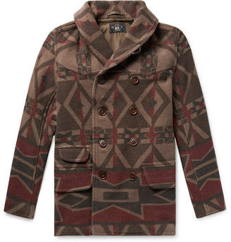 RRL Ramsey Shawl-Collar Double-Breasted Printed Wool-Blend Coat