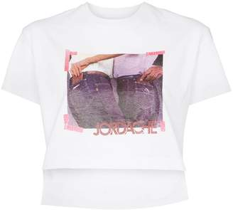 Jordache Cropped cotton photo print T-shirt