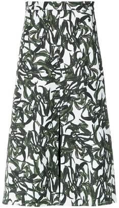 Andrea Marques foliage print midi skirt
