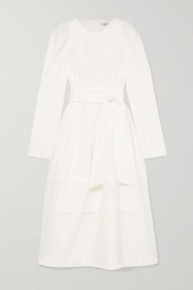 Atlantique Ascoli Datcha Belted Ruffled Swiss-dot Cotton Midi Dress