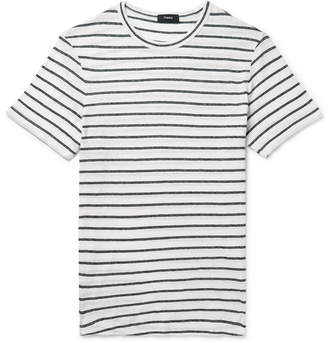 Theory Striped Cotton And Linen-Blend T-Shirt