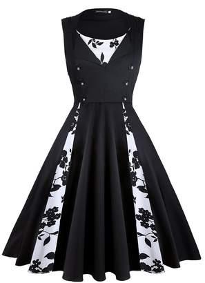 16636771eba75 KeZheXi Women's Polka Dot Retro Sleeveless Vintage 1950s Rockabilly Evening Party  Cocktail Swing Dress (,
