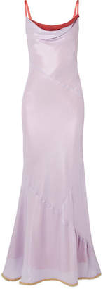 Beaded Two-tone Satin Maxi Dress - Lilac