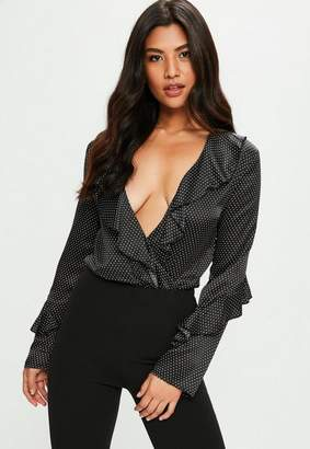 Missguided Black Polka Dot Satin Bodysuit