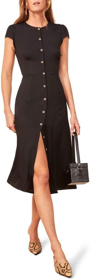Reformation Fauna Front Button Midi Dress