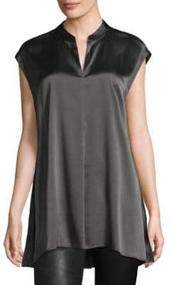 Eileen Fisher Mandarin Collar Silk Top