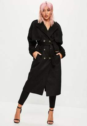 Missguided Black Brushed Trench Coat