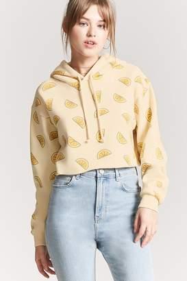 Forever 21 Lemon Slice Pullover Cropped Hoodie