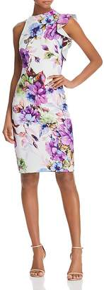 Black Halo Pabla Ruffle Floral-Print Sheath Dress