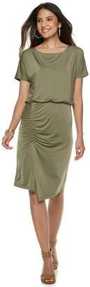 JLO by Jennifer Lopez Women's Shirred Blouson Dress