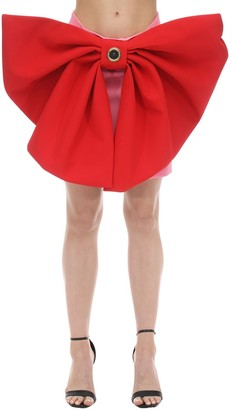 Fausto Puglisi LVR EXCLUSIVE SATIN MINI SKIRT W/ BOWS