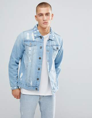 Brave Soul Destroyed Ripped Light Wash Denim Jacket