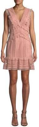 Bardot Kristen V-Neck Sleeveless Lace Dress w/ Ruffled Trim