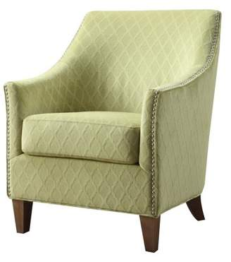 Emerald Home Kismet Wembley Pecan Accent Chair with Velvet Like, Diamond Pattern Upholstery And Nailhead Trim