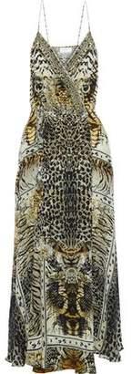 Camilla Crystal-Embellished Printed Silk Crepe De Chine Wrap Dress