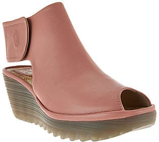 Fly London Peep-Toe Leather Wedge Sandals -Yone