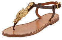 Flat Leather Thong Sandals with Gryphon Ornament