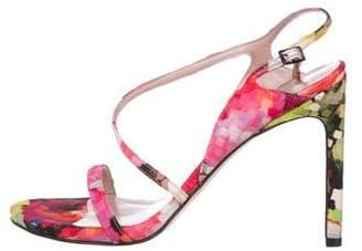 Stuart Weitzman Floral Ankle Strap Sandals