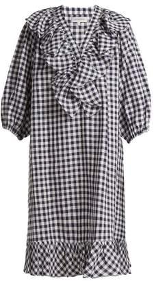 Lee mathews Mathews - Nellie Ruffled Linen Dress - Womens - Navy Multi
