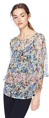 Daisy Drive Women's Ruffle Floral Printed Top with Jersey Cami