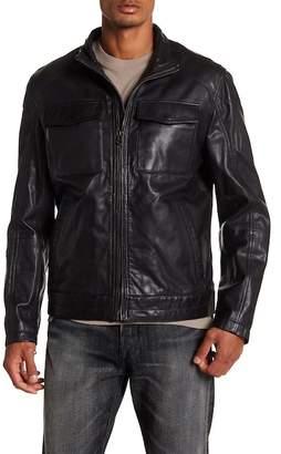 Cole Haan Leather Trucker Jacket