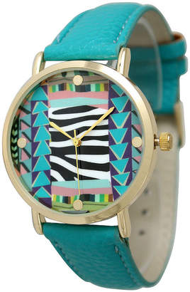 OLIVIA PRATT Olivia Pratt Womens Multi-Color Pattern With Gold-Tone Studs Dial Teal Leather Watch 13628Teal