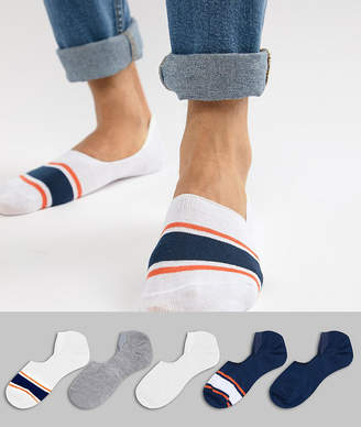 Asos DESIGN invisible liner socks in orange & blue with stripe toes 5 pack