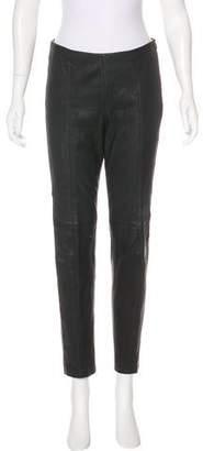 Akris Leather Mid-Rise Pants