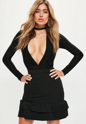 Black Double Frill Hem Scuba Mini Skirt $27 thestylecure.com