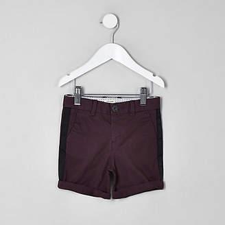River Island Mini boys purple Dylan tape chino shorts