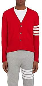 Thom Browne Men's Striped-Sleeve Cashmere Cardigan - Red