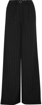 Mugler - Pinstriped Wool-blend Wide-leg Pants - Black $780 thestylecure.com