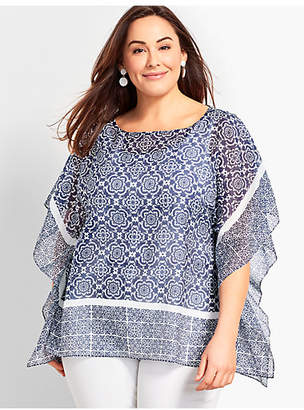 Talbots Plus Size Exclusive Floral Scroll Poncho