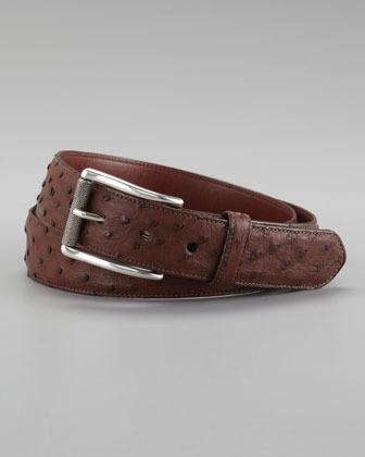 """W.KLEINBERG 1 1/4"""" Quill Ostrich Belt, Dark Brown"""