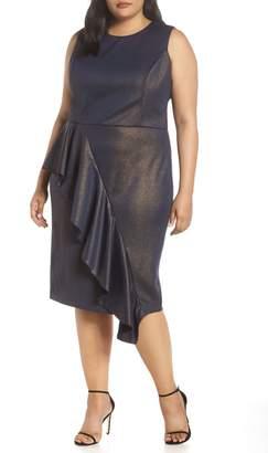 Rachel Roy Metallic Ruffle Sheath Dress