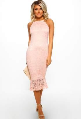 62bf73b0469 Pink Boutique Running Wild Powder Pink Lace Frill Hem Midi Dress