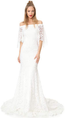 Theia Sasha Off the Shoulder Lace Gown $1,695 thestylecure.com