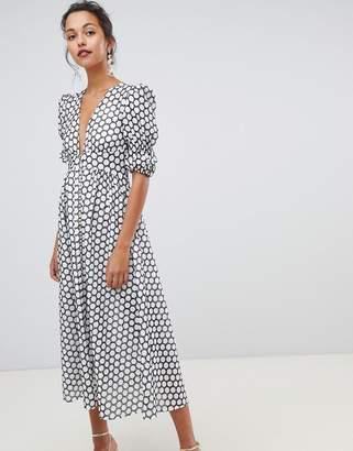 Keepsake Belong textured spot midi dress