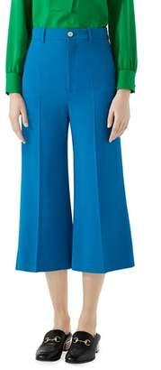 Gucci Stretch Cady Wide Leg Crop Trousers