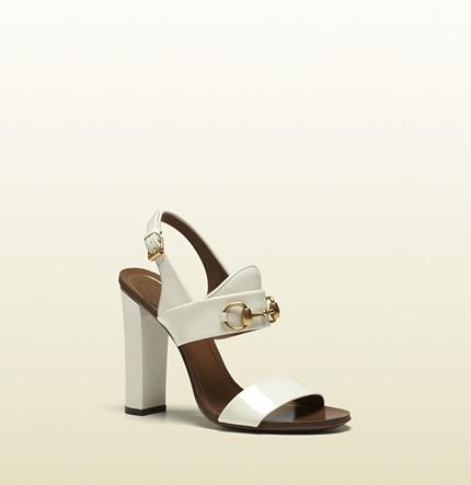 Gucci Alyssa Off-White Patent Leather High-Heel Sandal
