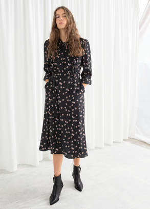 And other stories Floral Printed Ruffle Bib Midi Dress